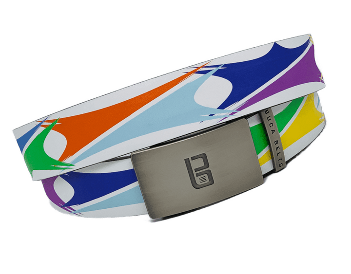 Sails belt from Buca belts.  A white golf belt with colorful sails patterns to accent any outfit.