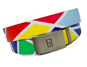 The Original Buca Belt.  Colorful golf belt with white lines and bright colors on an adjustable golf belt.
