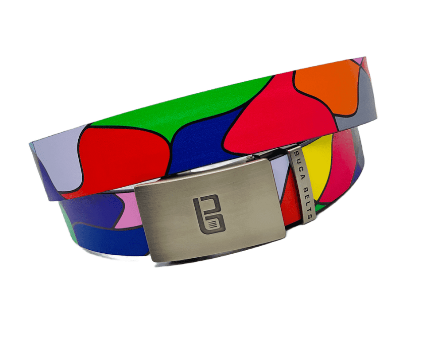 The Wves golf belt from Buca Belts.  An adjustable ratchet style colorful golf belt with so many bright colors.