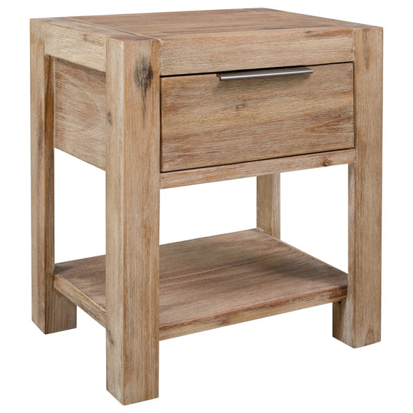 DealsmatevidaXL Nightstand with Drawer 40x30x48 cm Solid Acacia Wood