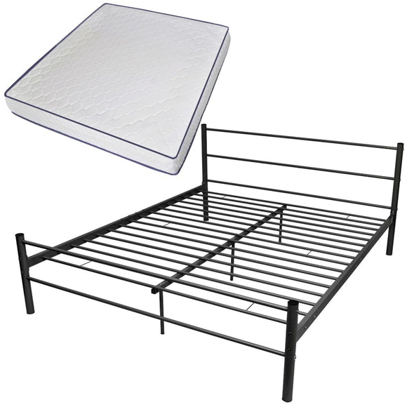 DealsmatevidaXL Bed Frame with Memory Foam Mattress King Size