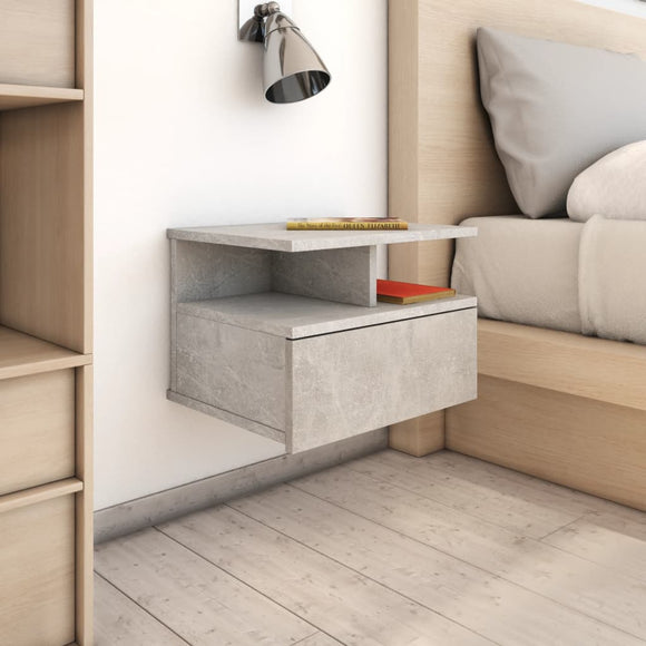 DealsmatevidaXL Floating Nightstands 2 pcs Concrete Grey 40x31x27 cm Chipboard