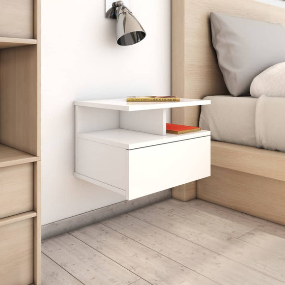 DealsmatevidaXL Floating Nightstand High Gloss White 40x31x27 cm Chipboard