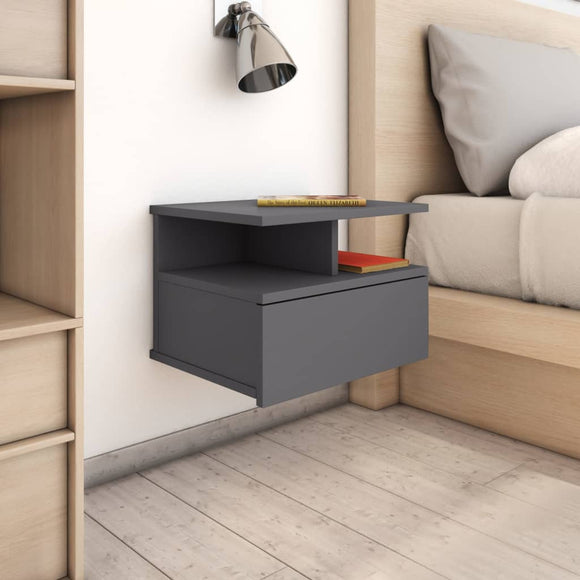 DealsmatevidaXL Floating Nightstand High Gloss Grey 40x31x27cm Chipboard