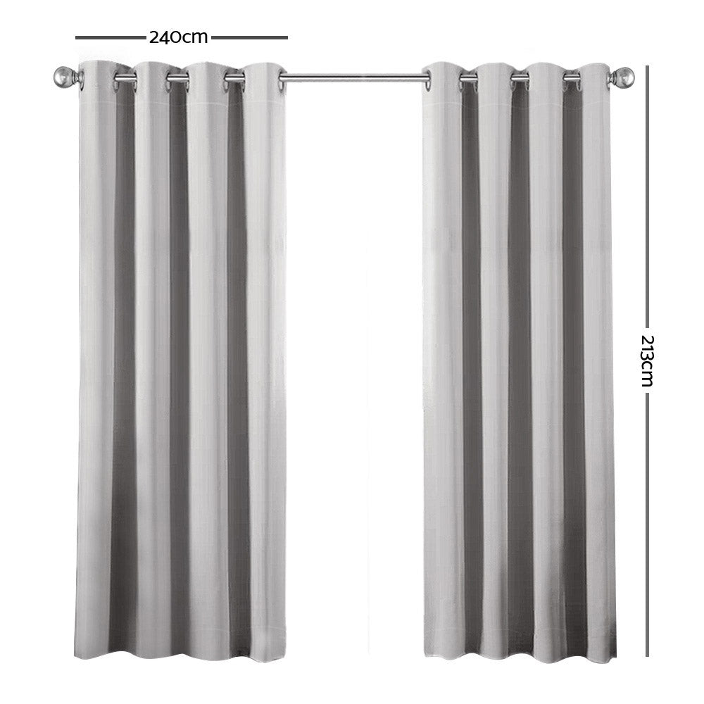 Art Queen 2 Panel 240 x 213cm Block Out Curtains - Light Grey