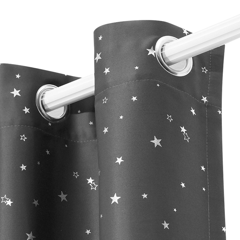 Art Queen 2 Star Blockout 180x213cm Blackout Curtains - Grey