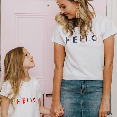 Women's T-Shirt - Hello (White with Navy/Pale Pink) | Branche Online Store | Melbourne