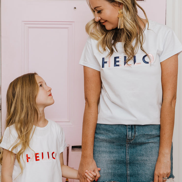 Women's T-Shirt - Hello (White with Navy/Pale Pink) - Branche Store