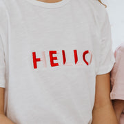 Girls T-Shirt - Hello (White with Pink/Red) - Branche Store
