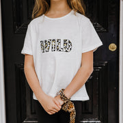 Girls T-Shirt - WILD (White with Black/Gold) - Branche Store