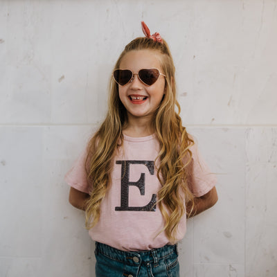 Girls Monogram T-shirt - Blush with Back Sequin - Branche Store