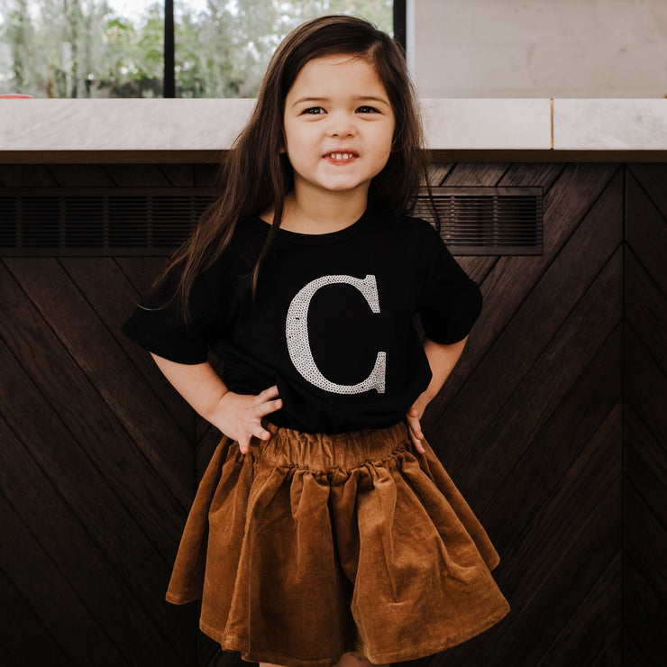 Girls Monogram T-Shirt - Black with Silver Sequin - Branche Store