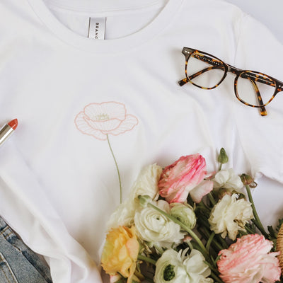 Pastel Poppy Girl - White T-shirt