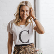 Women's Monogram T-Shirt White with Black Sequin | Branche Online Store | Melbourne