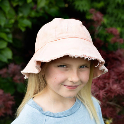 Girls Monogrammed Pink Peach Cotton Bucket Hat | Branche Online Store | Melbourne