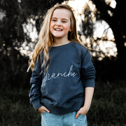 Girls Signature Sweater - Slate with white detail | Branche Online Store | Melbourne