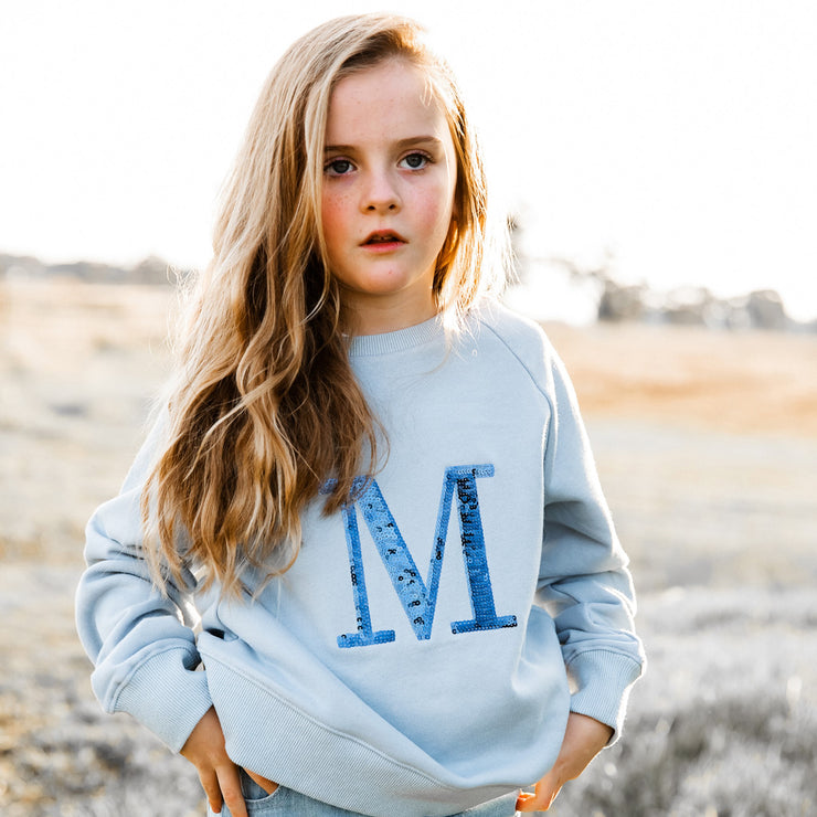 Girls Monogram Sweater - Blue with navy sequin | Branche Online Store | Melbourne