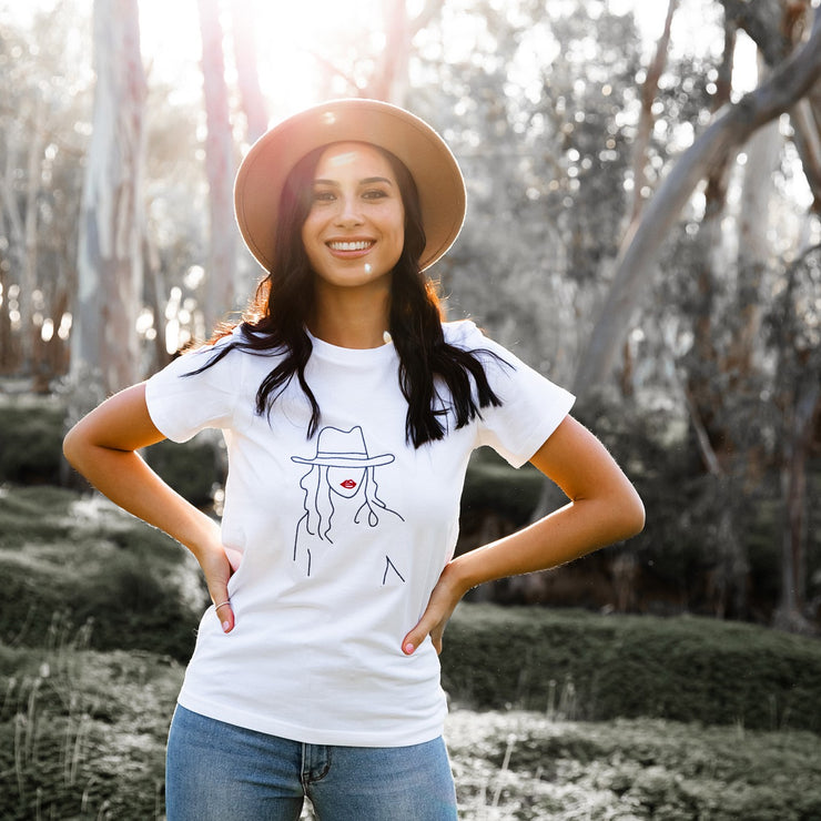 Boho Lady Navy on White T-shirt | Branche Online Store | Melbourne