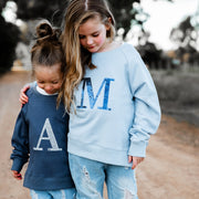Girls Monogram Sweater - Blue with navy sequin - Branche Store
