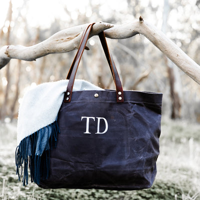 Waxed Canvas Tote - Monogram - Slate | Branche Online Store | Melbourne