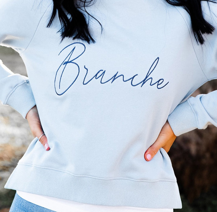 Girls Signature Sweater - Blue with navy detail - Branche Store