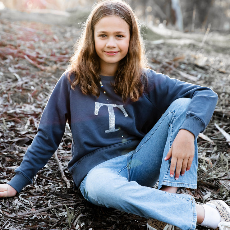 Girls Monogram Sweater - Slate with silver sequin - Branche Store