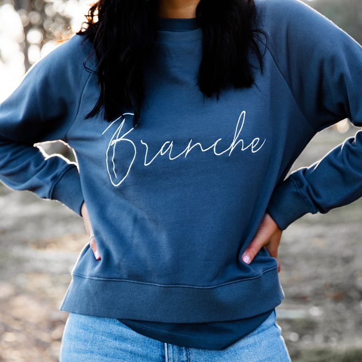 Women's Signature Sweater - Slate with white detail | Branche Online Store | Melbourne