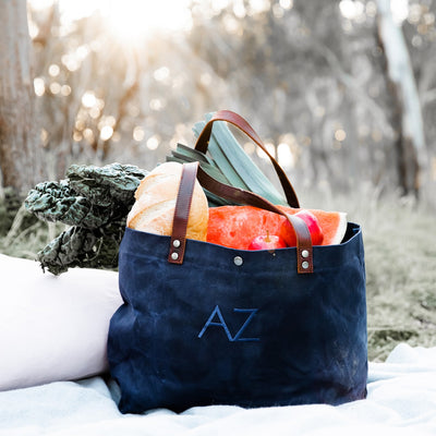 Waxed Canvas Tote - Monogram - Navy | Branche Online Store | Melbourne