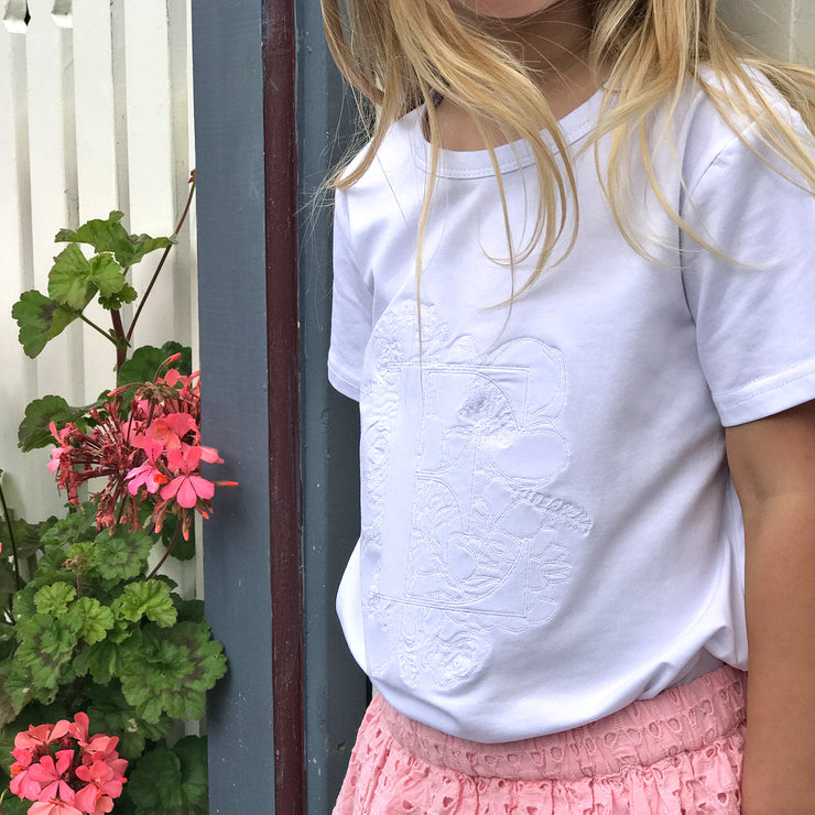 Girls Floral Monogram T-Shirt - White Embroided - Branche Store