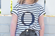 Girls Monogram T-Shirt - B&W Stripe with Black Sequin - Branche Store
