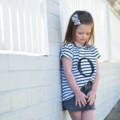 Girls Monogram T-Shirt - B&W Stripe with Black Sequin | Branche Online Store | Melbourne