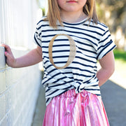 Girls Monogram T-Shirt - Navy Stripe with Gold Sequin | Branche Online Store | Melbourne
