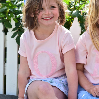 Girls Monogram T-Shirt - Pink with Pink Sequin | Branche Online Store | Melbourne