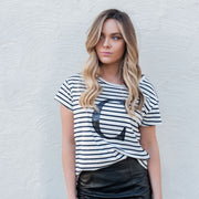 Women's Monogram T-Shirt - B&W Stripe with Black Sequin | Branche Online Store | Melbourne