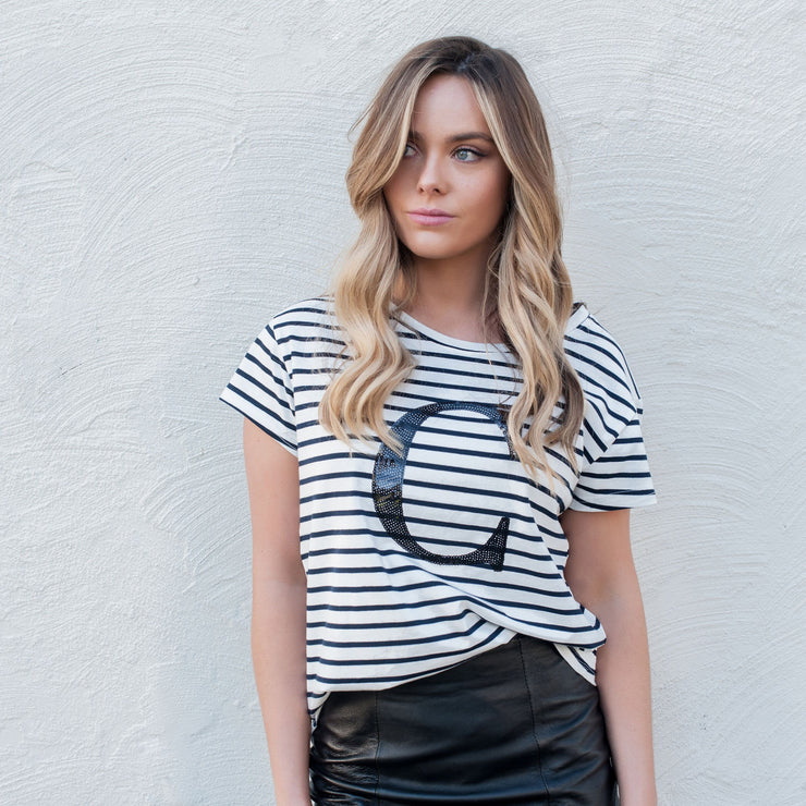 Women's Monogram T-Shirt - B&W Stripe with Black Sequin - Branche Store