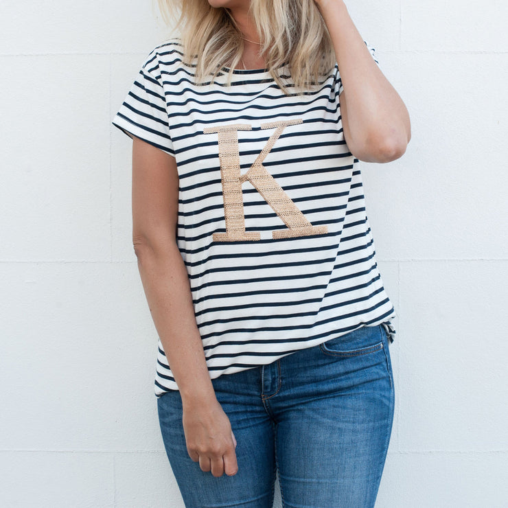 Women's Monogram T-Shirt - Navy Stripe with Gold Sequin - Branche Store