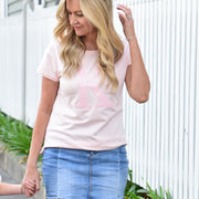 Women's Monogram T-Shirt - Pink with Pink Sequin | Branche Online Store | Melbourne