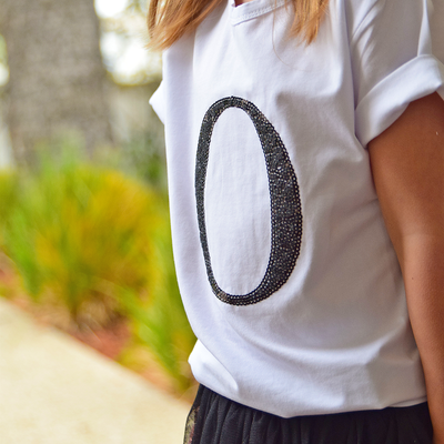 Girls Monogram T-Shirt - Black Sequin - Branche Store