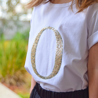 Girls Monogram T-Shirt - Gold Sequin - Branche Store