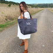 Waxed Canvas Tote - Monogram - Slate - Branche Store