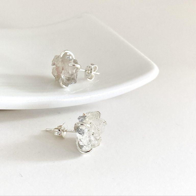 WHITE DRUSY CRYSTAL CLASP EARRINGS