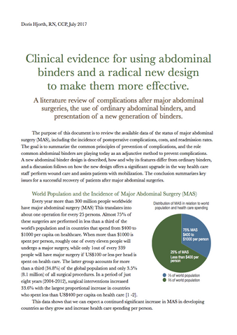 Clinical evidence for using abdominal binders