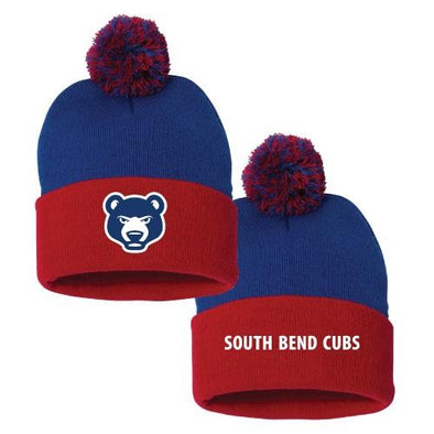South Bend Cubs Knit Beanie w/ Ball