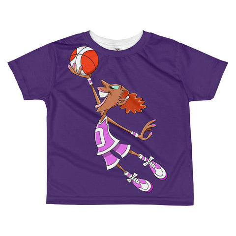Flying Big Basketball Girl All-over kids sublimation T-shirt