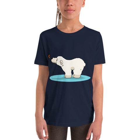 Butterfly greets Polar Bear Youth Short Sleeve T-Shirt