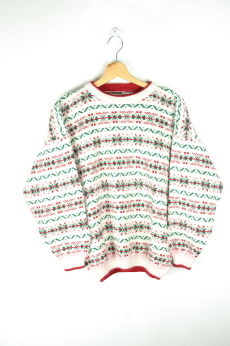 Vintage 80s - Patterned White Red & Green Sweater - Size S/M