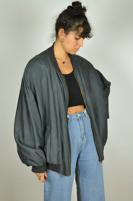 Black/Dark Gray silk Jacket Oversized XLXXL