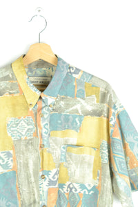 80s Abstract Patterned Unisex Shirt L