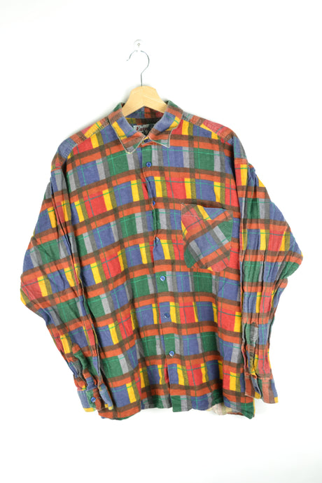 80s Colorful Patterned Long Sleeved Shirt L