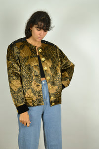 80s Women Quilted Golden Jacket Medium M